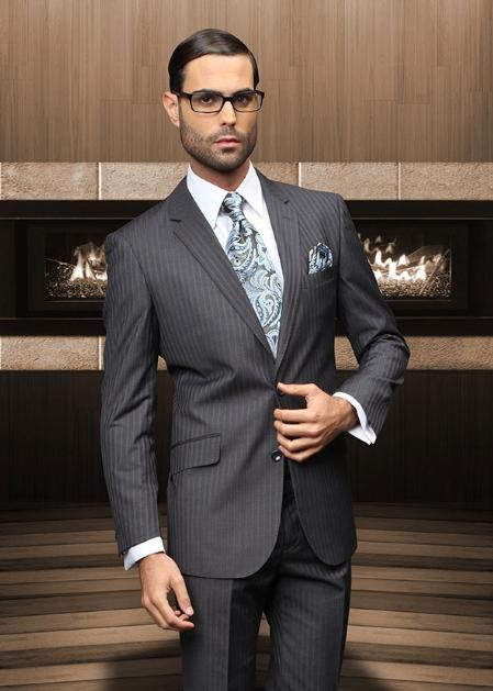 Pick Stitch Collar Slanted Pocket 2 Button Charcoal Shadow Stripe Suit