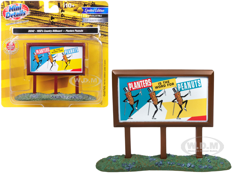 1950s Country Billboard Planters Peanuts for 1/87 (HO) Scale Models by Classic Metal Works