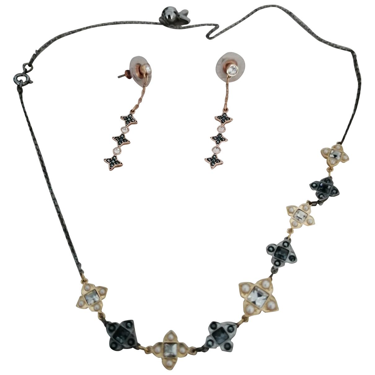 Swarovski N Black Metal Jewellery set for Women N