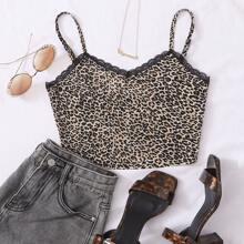 Top de tirantes de leopardo con encaje