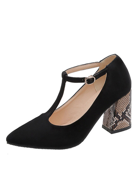 Milanoo Vintage Pumps High Heels T-Type Bandage Pointed Toe Chunky Heel Plus Size Shoes