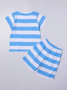 Toddler Boys Cartoon And Striped PJ Set