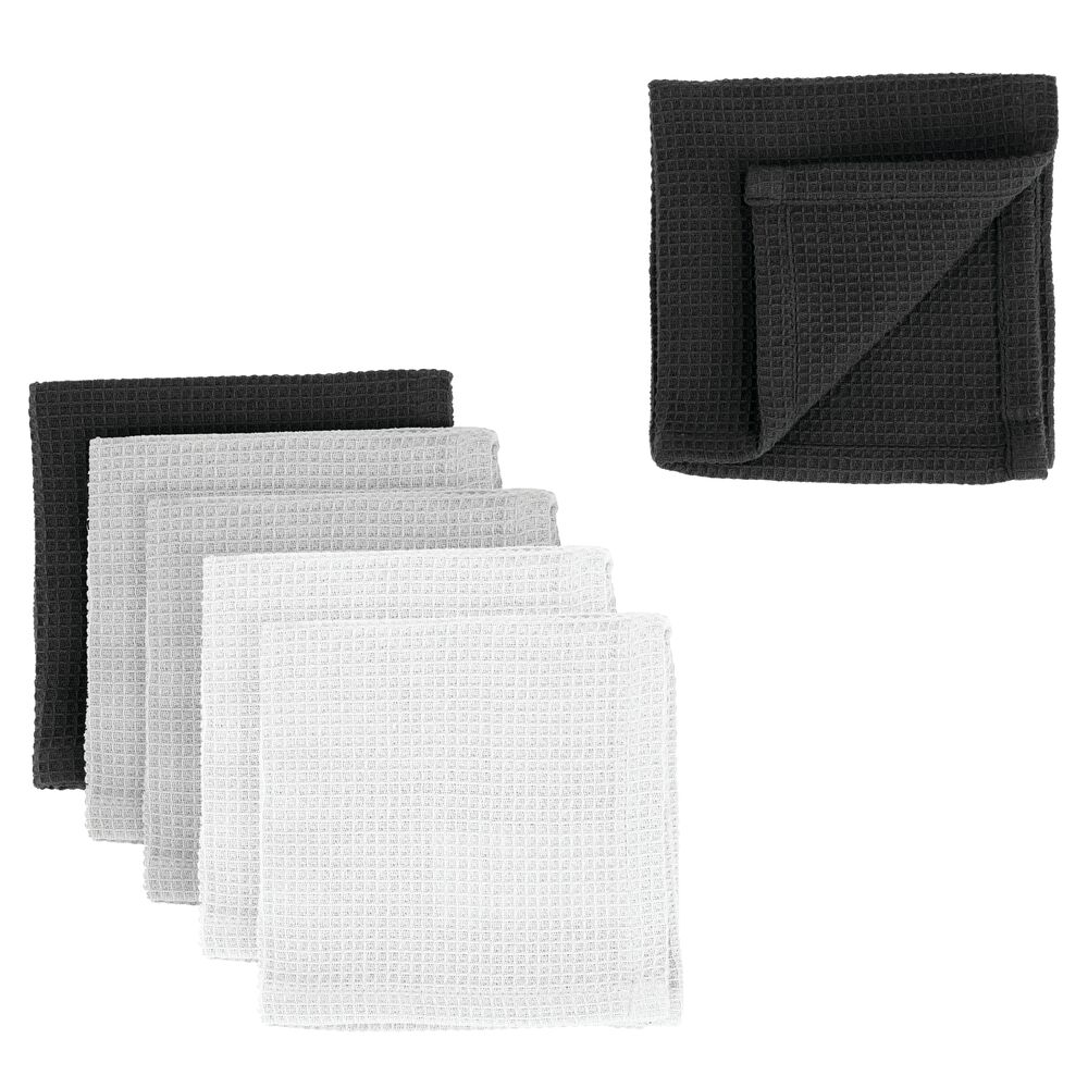 Kitchen Towel Set with Waffle Texture - Pack of in Multi, by mDesign