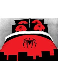 3D Red and Black Spider Soft Microfiber 4PCs Duvet Cover Set with Zipper Ties