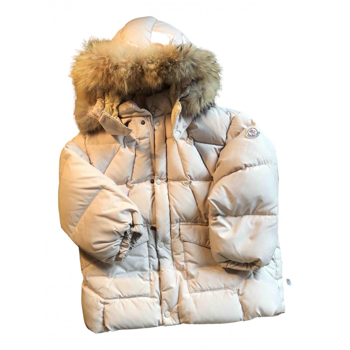 Moncler Fur Hood Jacke, Maentel in  Beige Synthetik