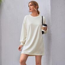 Drop Shoulder Solid Oversized Dress