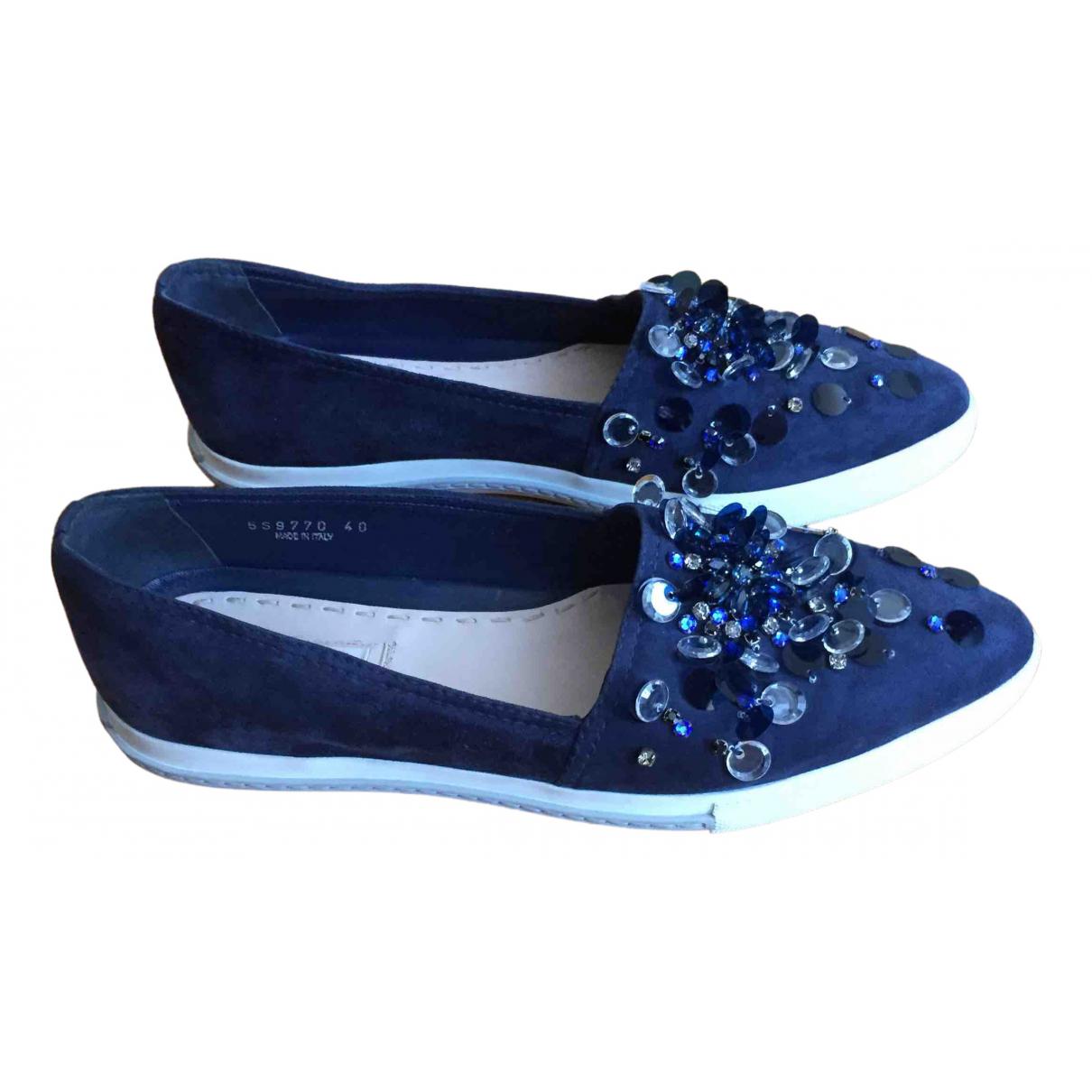 Miu Miu - Mocassins   pour femme en suede - bleu