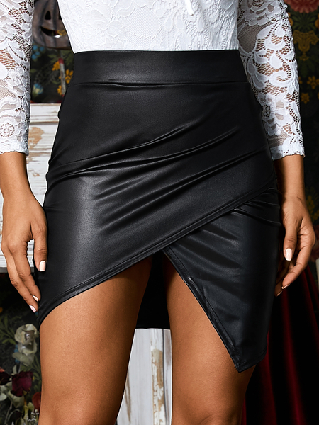 Yoins Black Criss-cross Asymmetric Faux Leather Skirt