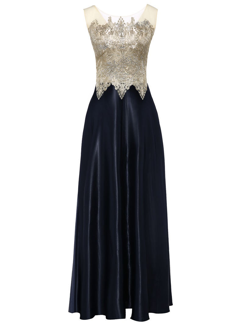 Ericdress Bateau Neck Zipper-Up Appliques A Line Evening Dress