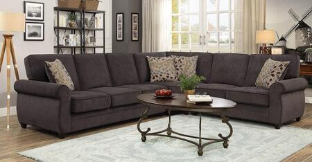 Cornell 1044-BR 99 Sleeper Sectional Sofa with Rolled Arms  Block Legs and Polyester Fabric Upholstery in