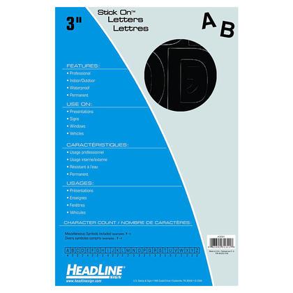 Headline Sign@ Stick On Vinyl Letter & Number Stickers - Black Letters, Upper Case, 75mm (3�