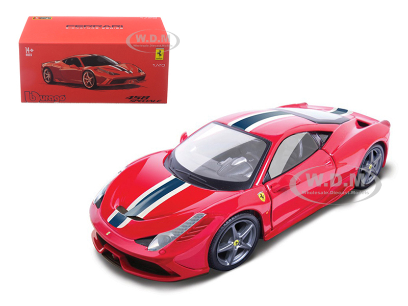 Ferrari 458 Speciale Red with White and Blue Stripes
