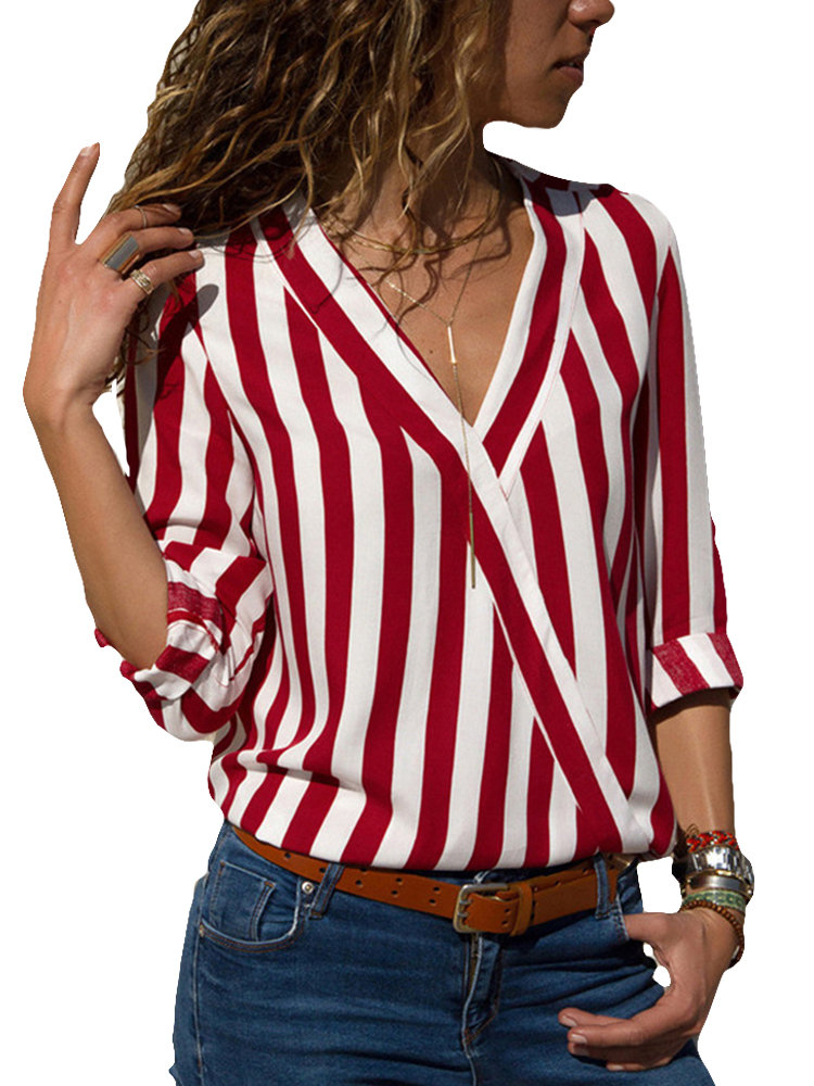 Casual V-neck Loose Striped Long Sleeve Shirts for Women