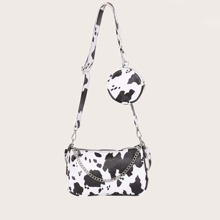 Cow Pattern Baguette Bag With Purse