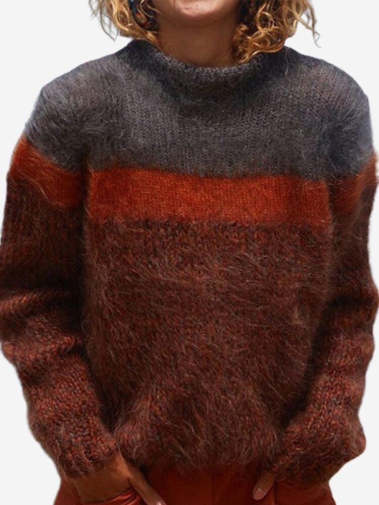 Contrast Color Long Sleeve Turtleneck Casual Sweater For Women