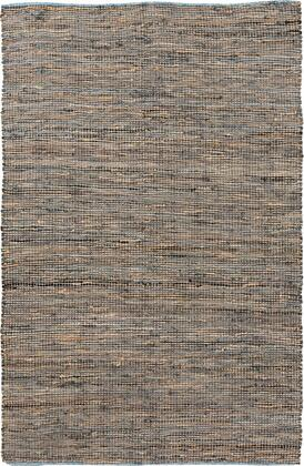 Adobe ADB1000-811 8' x 11' Rectangular Hand Loomed Reversible Rug Made with 50% Leather and 50% Jute  No Shedding  Fringe/Tassel Detail  No Pile  and