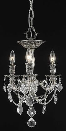 9203F13PW/SS 9203 Rosalia Collection Flush Mount D13in H14in Lt: 3 Pewter Finish (Swarovski Strass/Elements