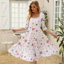 Vestidos Cinta Floral Elegante