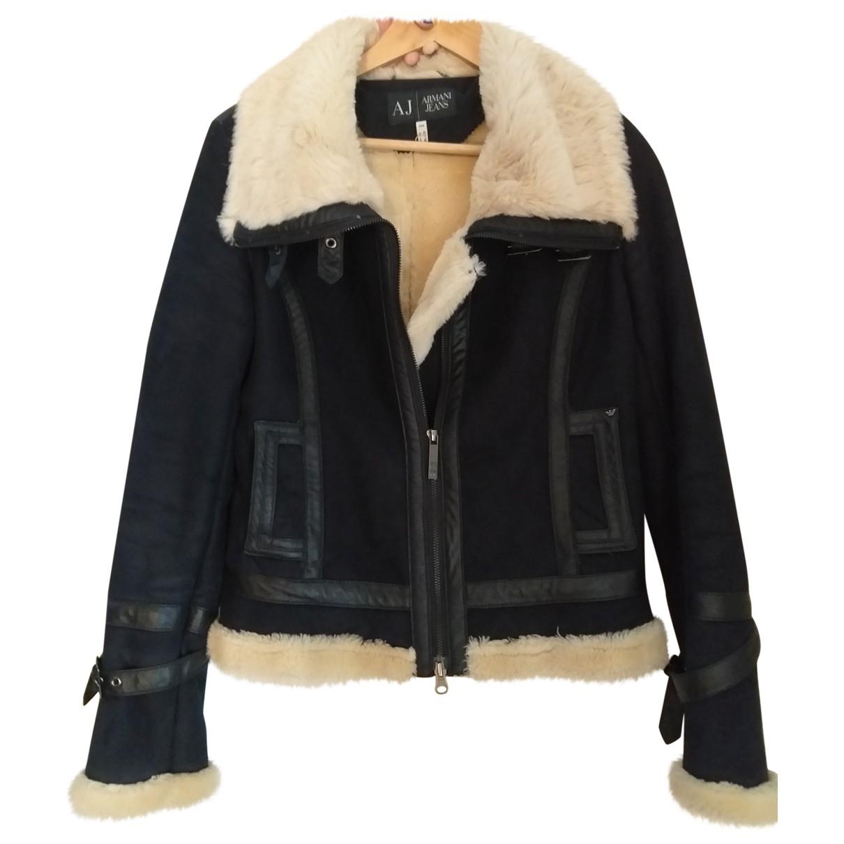 Armani Jeans \N Navy Faux fur jacket for Women 42 IT