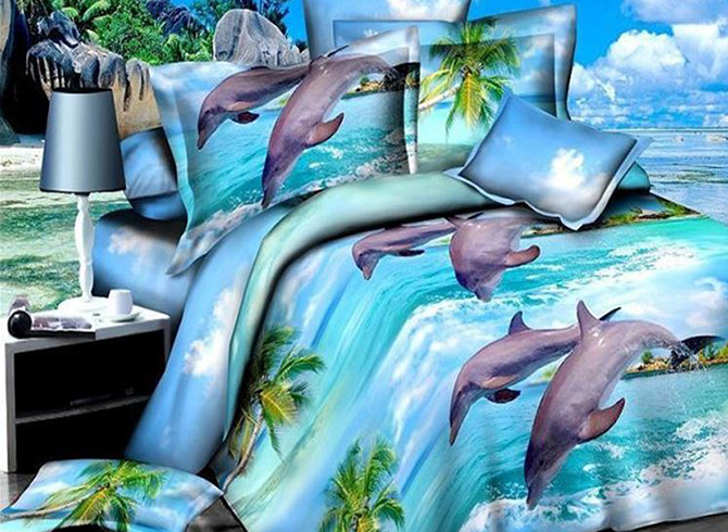 Jumping Dolphins Beach Scenery Print 4-Piece Polyester Duvet Cover Sets