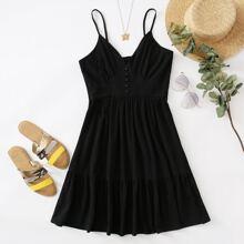 Cami Kleid mit Knopfen vorn und Rueschen
