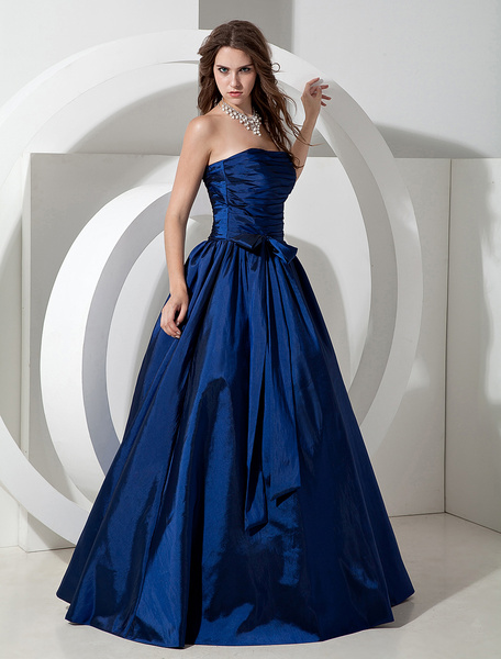Milanoo Vestido de Dama de Honor 2020 Largo Royal Azul Tafetan Vestido de Noche Longitud de Piso sin Tirantes A Linea Plisado Vestido Prom