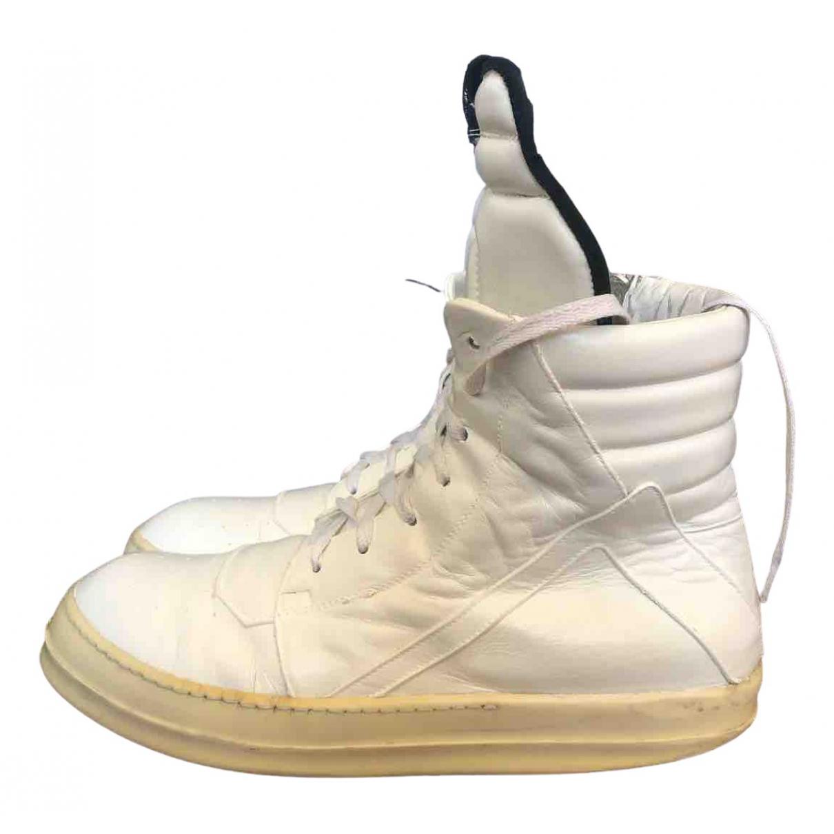 Rick Owens Drkshdw - Baskets   pour homme en cuir - blanc