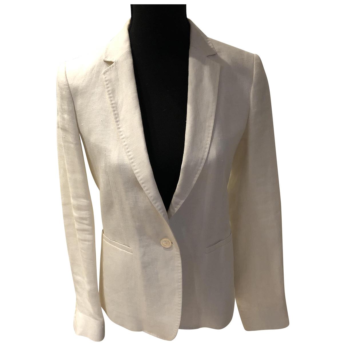 Massimo Dutti \N White Linen jacket for Women 38 FR