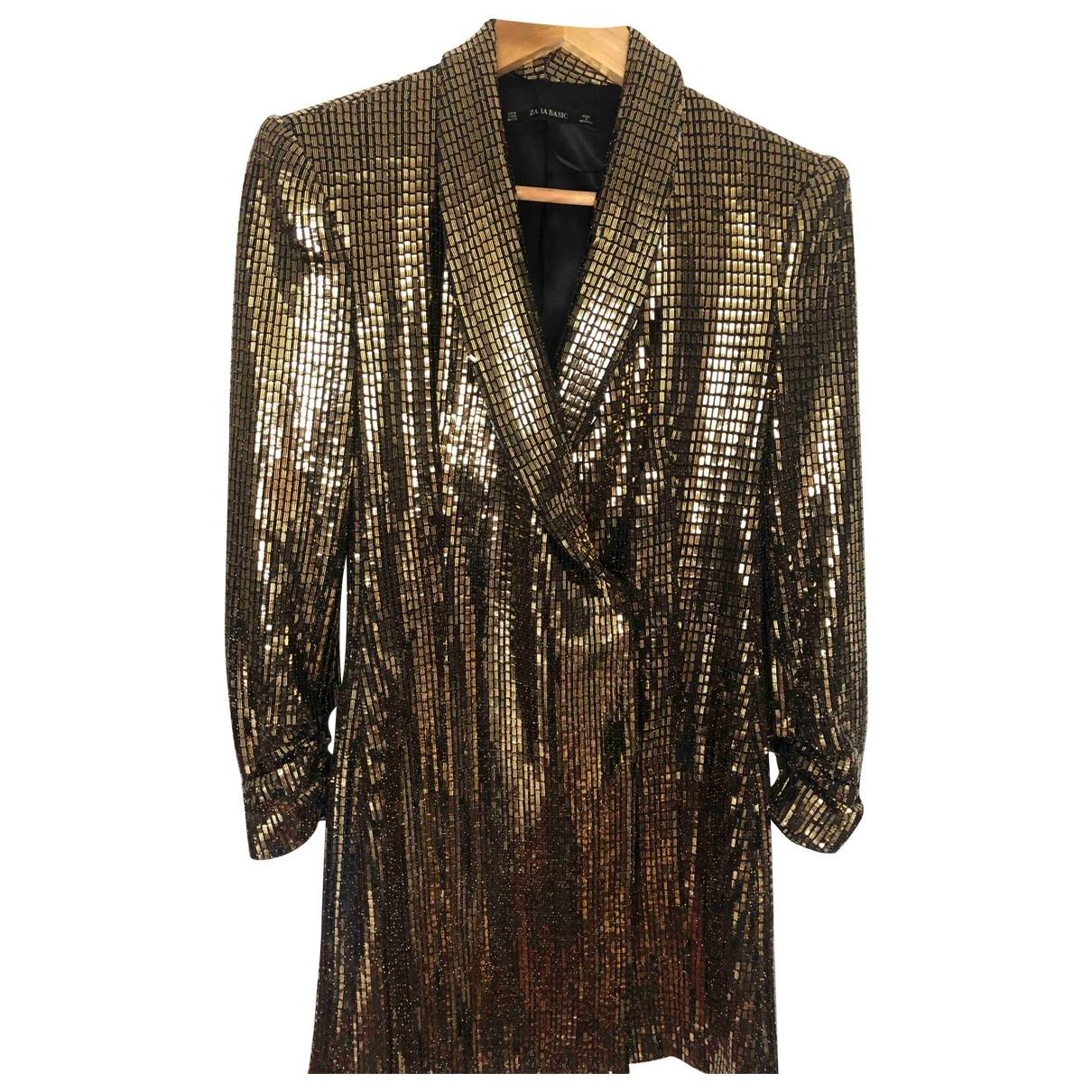 Zara \N Kleid in  Gold Baumwolle - Elasthan