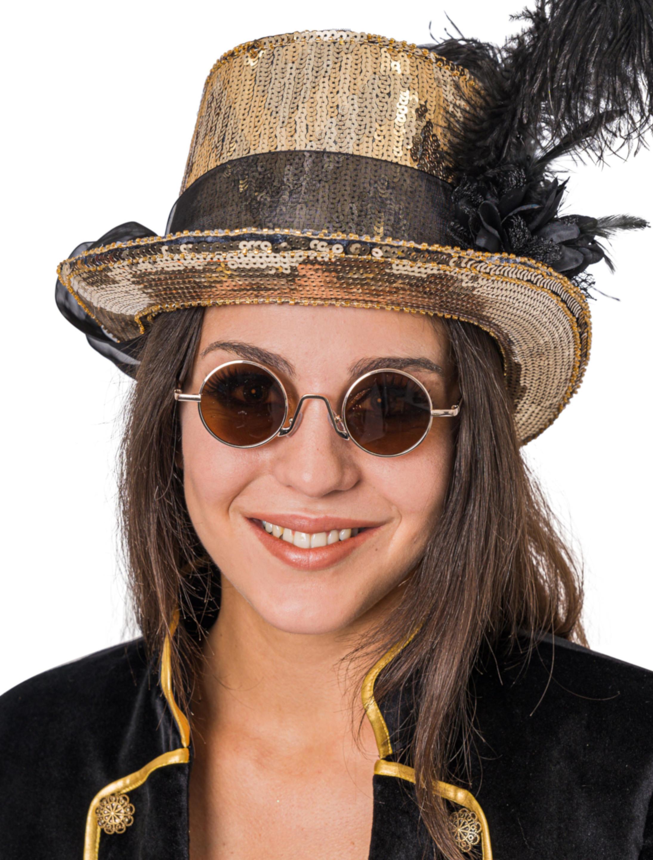 Kostuemzubehor Brille rund gold mit Glaeser braun