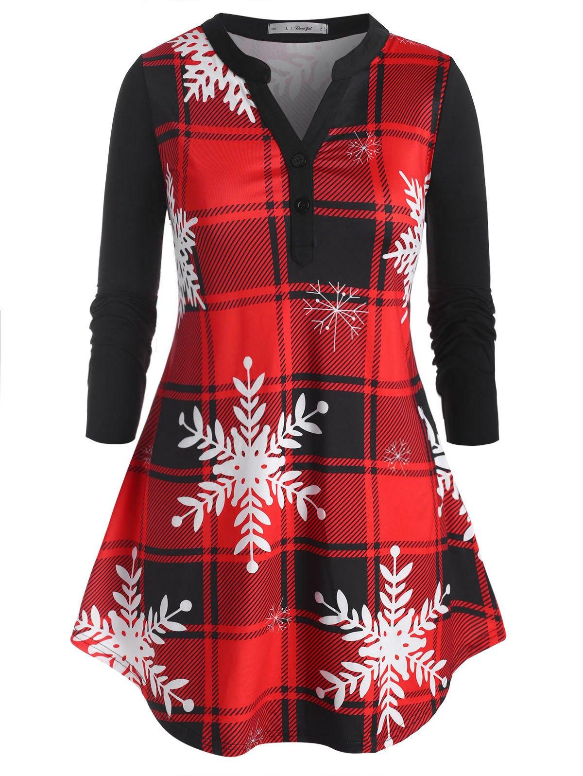 Plus Size Christmas Snowflake Plaid V Notch Curved Hem Tee