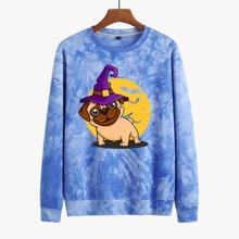 Men Tie Dye Dog Print Sweatshirt