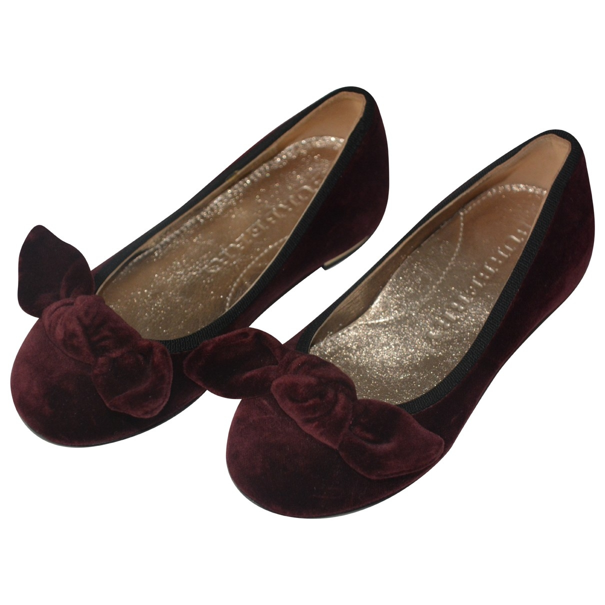 Burberry \N Burgundy Velvet Ballet flats for Kids 27 EU