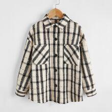 Girls Drop Shoulder Pocket Front Plaid Tweed Coat