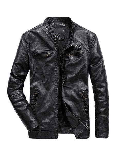 Milanoo Men Leather Jacket Stand Collar Buckle Zipper PU Biker Jacket