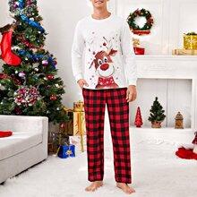 Men Christmas Reindeer And Gingham Print Pajama Set