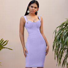 Adyce Bustier figurbetontes Kleid mit Reissverschluss hinten und Riemen
