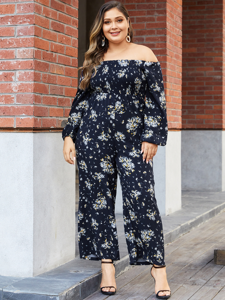 YOINS Plus Size Navy Wide Leg Random Floral Print Off The Shoulder Jumpsuit