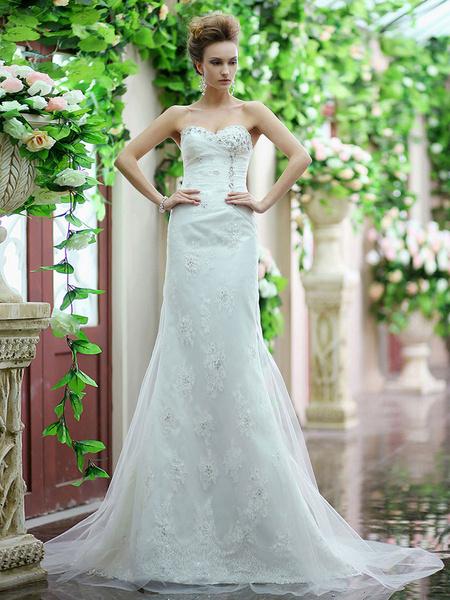 Milanoo Vestido de novia de tul blanco de corte sirena