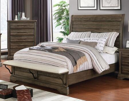 Gilbert Collection CM7894Q-BED Queen Size Bed with Plank Style Headboard  Steel-Supported Padded Fabric Footboard and Bracket Feet in Light