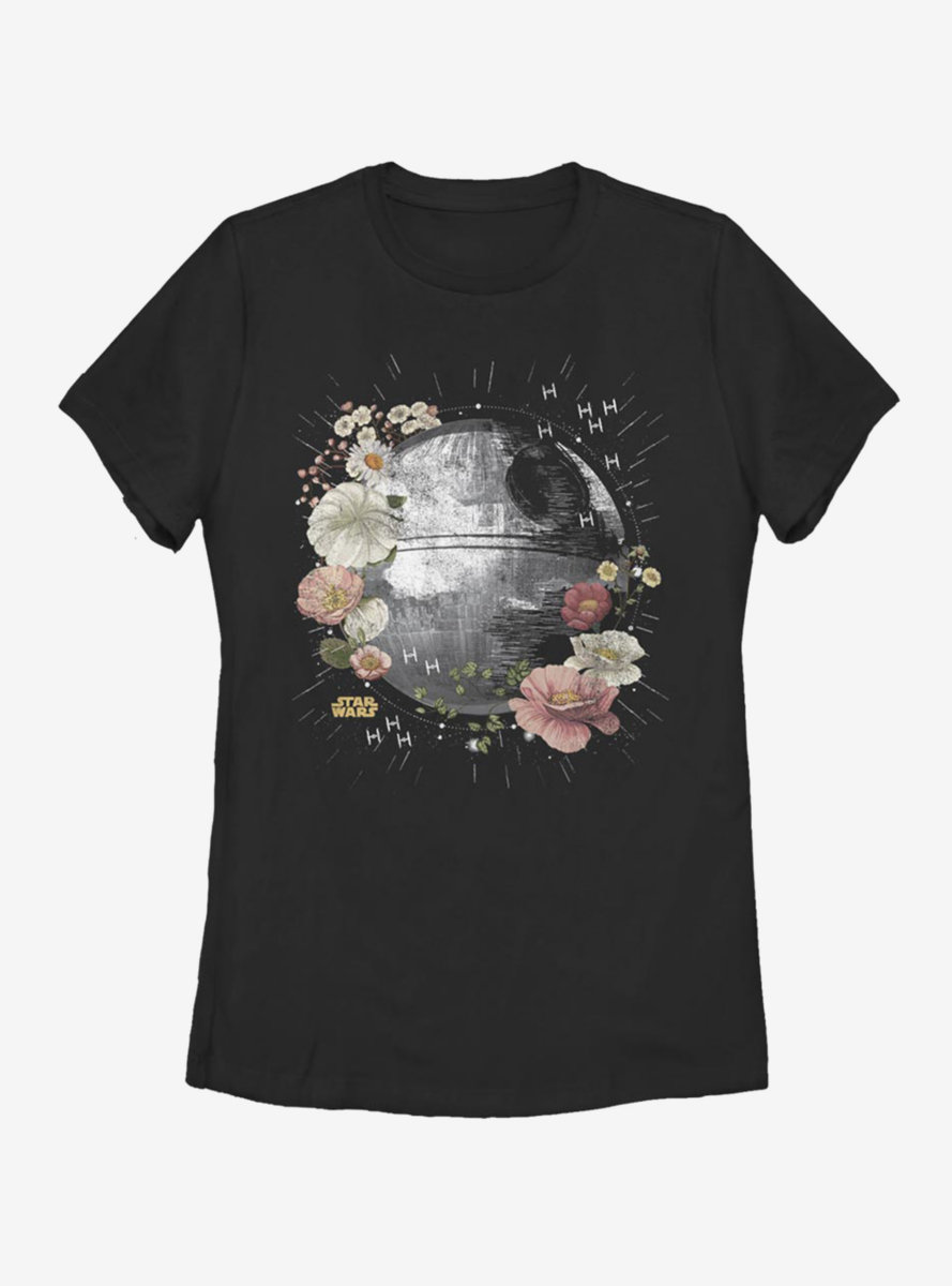 Star Wars Death Star Floral Womens T-Shirt