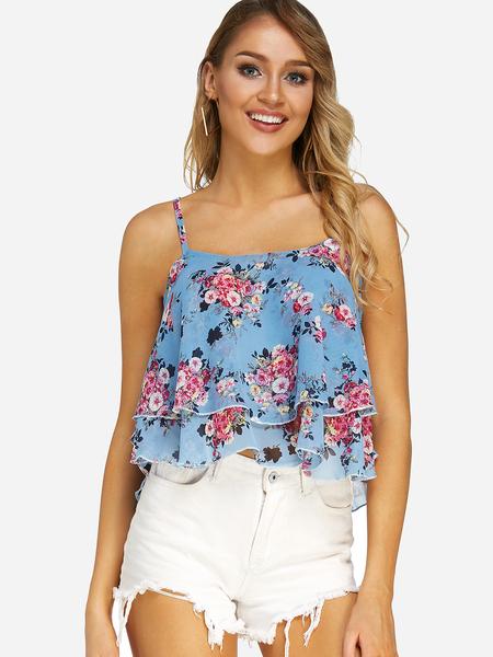 Yoins Blue Lace-up Design Random Floral Print Sleeveless Cami Top