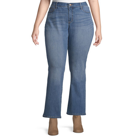 St. John's Bay Womens Regular Fit Bootcut Jean, 24w Short , Blue