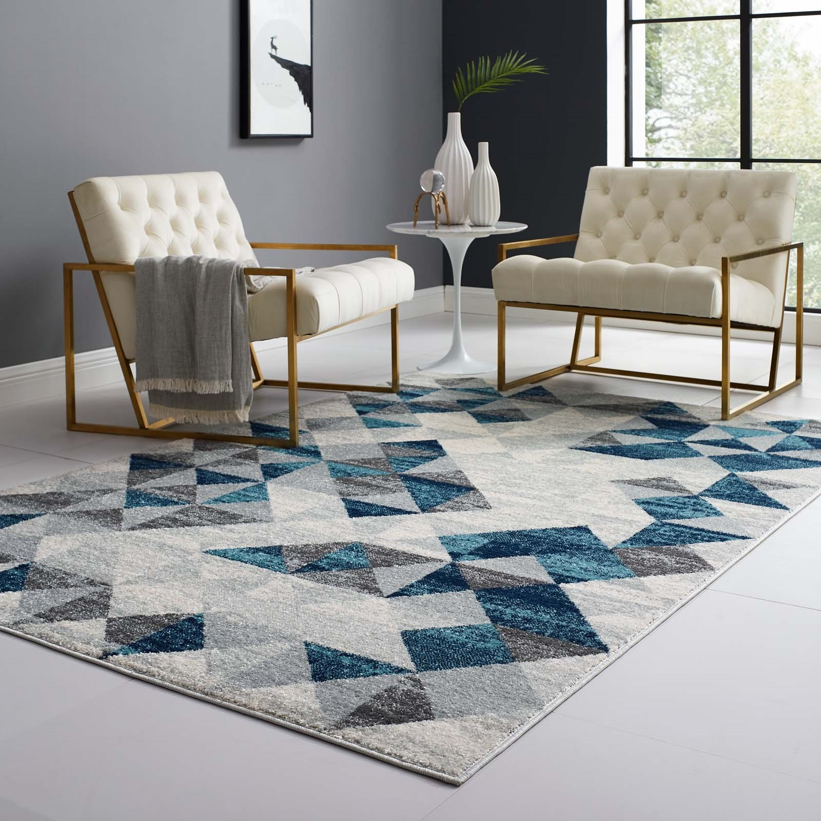 Entourage Elettra Distressed Geometric Triangle Mosaic 5x8 Area Rug in Gray and Blue