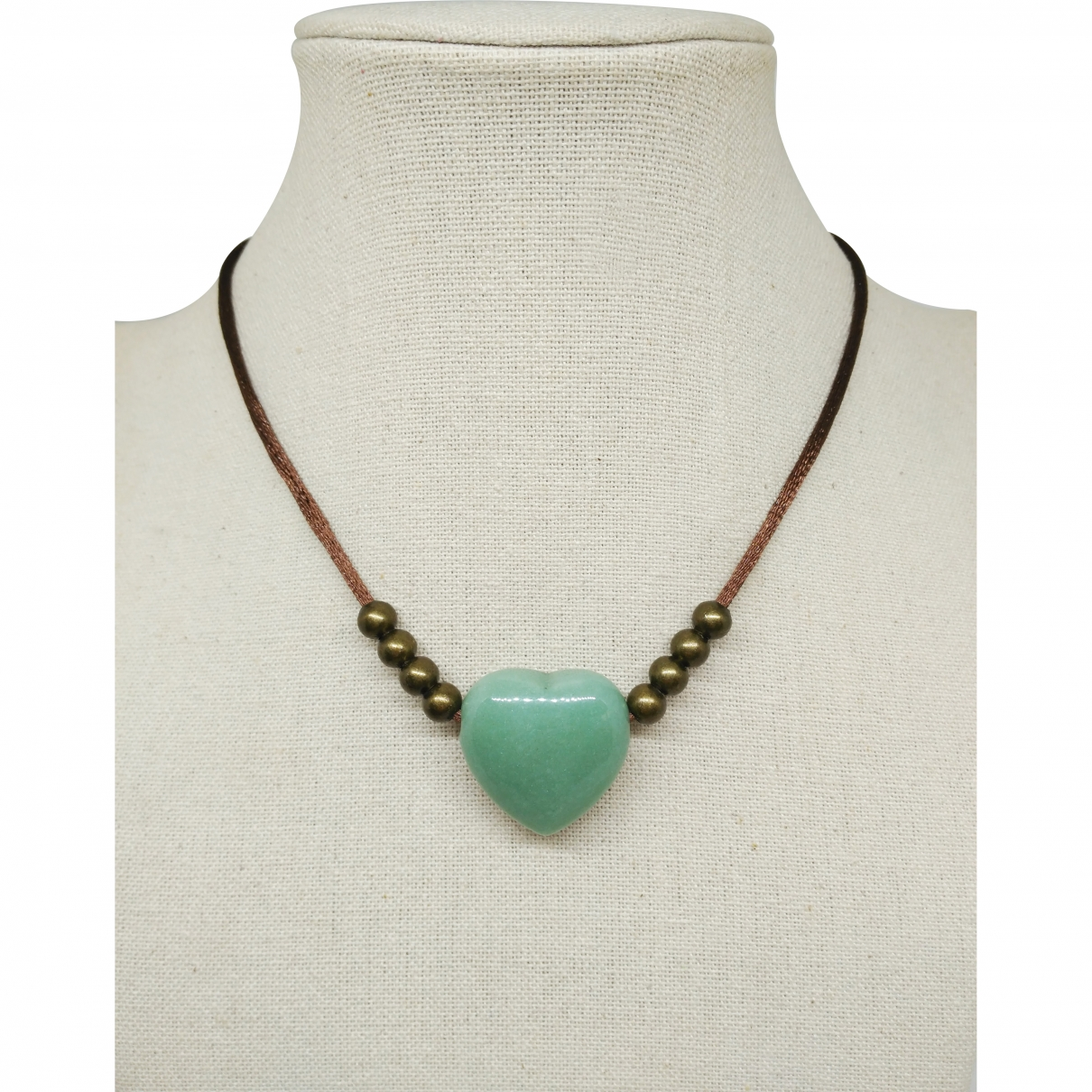 - Collier Motifs Coeurs pour femme en jade - vert