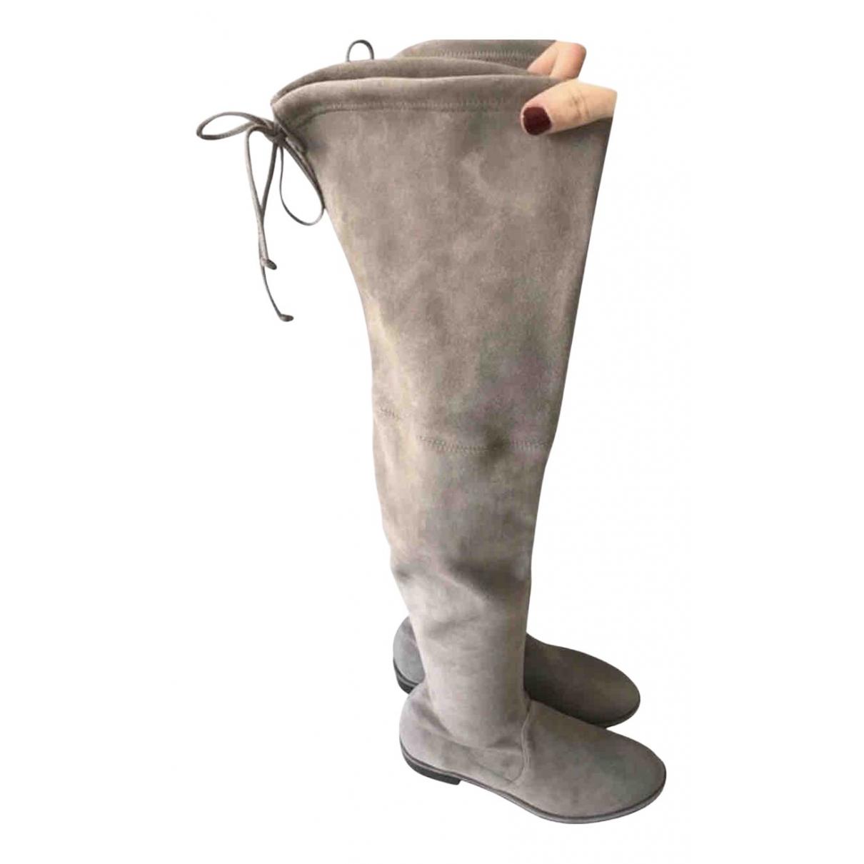 Stuart Weitzman \N Stiefeletten in  Grau Leder