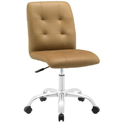 Prim Collection EEI-1533-TAN Mid Back Office Chair with Adjustable Height  Swivel Seat  Five Dual-Wheel Nylon Casters  Chrome Steel Base and Faux