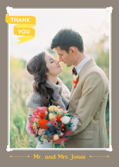 Wedding Thank You 5x7 Folded Cards, Standard Cardstock 85lb, Card & Stationery -Thank You Yellow Banner