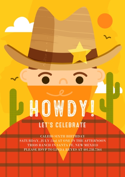 Kids Birthday Party Invites 5x7 Cards, Premium Cardstock 120lb with Elegant Corners, Card & Stationery -Howdy Celebration Invite