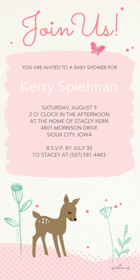 Baby Shower Invitations 4x8 Flat Card Set, 85lb, Card & Stationery -Sweet Fawn Invitation